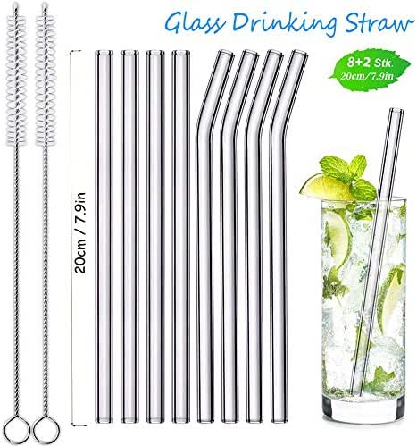 Straw Reusable Glass Drinking Eco Friendly Healthy Free of BPA Non-Toxic Zero Waste Portable for Smoothie Cocktail Set of 4 Straight 4 Bent and 2 Cleaning Brushes