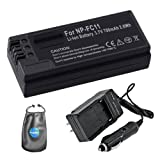 Amsahr S-FC11 Digital Replacement Battery PLUS Battery Travel Charger for Sony NPFC11, NP-FC10 with Lens Accessories Pouch (Gray)
