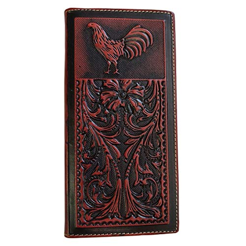 Men's Genuine Leather Wallet Long Bifold Western Wallet for Men Basketweave Floral Tooled Rooster ()