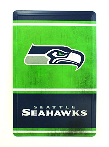 Pro Specialties Group NFL Seattle Seahawks Team Logo Tin Sign, 8 x 12-inches, Green - Boy Street Sign