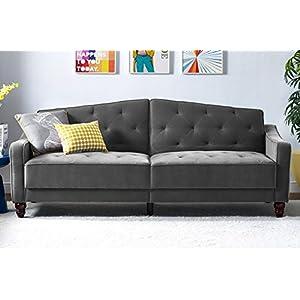 Novogratz Vintage Tufted Sofa Sleeper, Couch with Mid Century Vintage Design, Convertible Futon in Gray Velvet