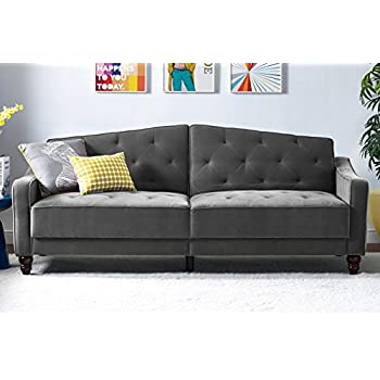 Novogratz Vintage Tufted Sofa Sleeper, Couch with Mid Century Vintage Design, Convertible Futon in Gray Velvet