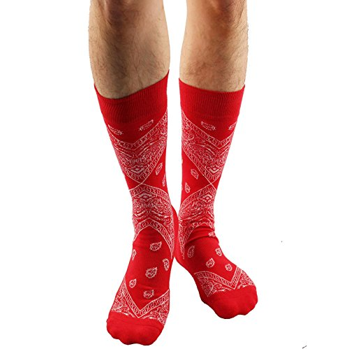 Men's Everday Novelty Paisley Bandanna Trouser Dressy Casual Comfy Socks Red