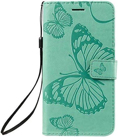 OMATENTI iPhone 11 6.1 手帳型 ケース, 良質 高級感PUレザー カード収納ホルダー付きストラップ付き 落下防止 全面保護 衝撃吸収 保護カバー エンボス蝶柄, 緑