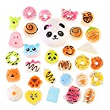 NUOLUX 30Pcs Jumbo Medium Mini Random Squishy Soft Panda/Bread/Ca ke/Buns Phone Straps