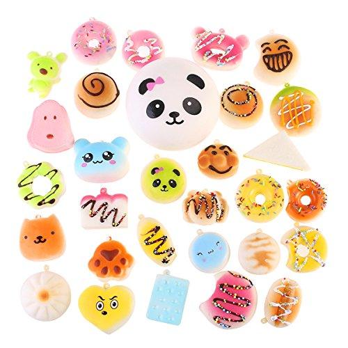 NUOLUX 30Pcs Jumbo Medium Mini Random Squishy Soft Panda/Bread/Ca ke/Buns Phone Straps by NUOLUX