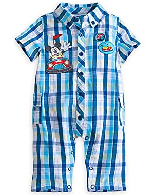 Disney Store Mickey Mouse Woven Bumper Car Romper Short Sleeve for Baby Boys