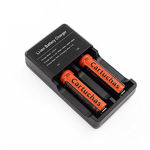 Cartuchas 2 Pack of 3.7v Li-ion Rechargeable Batteries and Li-ion 18650 18500 14500 Battery Charger