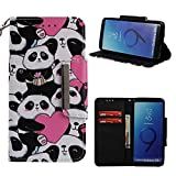 Leather Wallet Case for Samsung Galaxy S9 Plus,Shinyzone Cute Cartoon Animal Love Heart Panda Painted Pattern Flip Stand Case,Wristlet & Metal Magnetic Closure Protective Cover