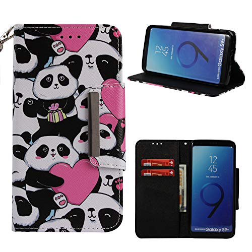 Price comparison product image Leather Wallet Case for Samsung Galaxy S9 Plus, Shinyzone Cute Cartoon Animal Love Heart Panda Painted Pattern Flip Stand Case, Wristlet & Metal Magnetic Closure Protective Cover