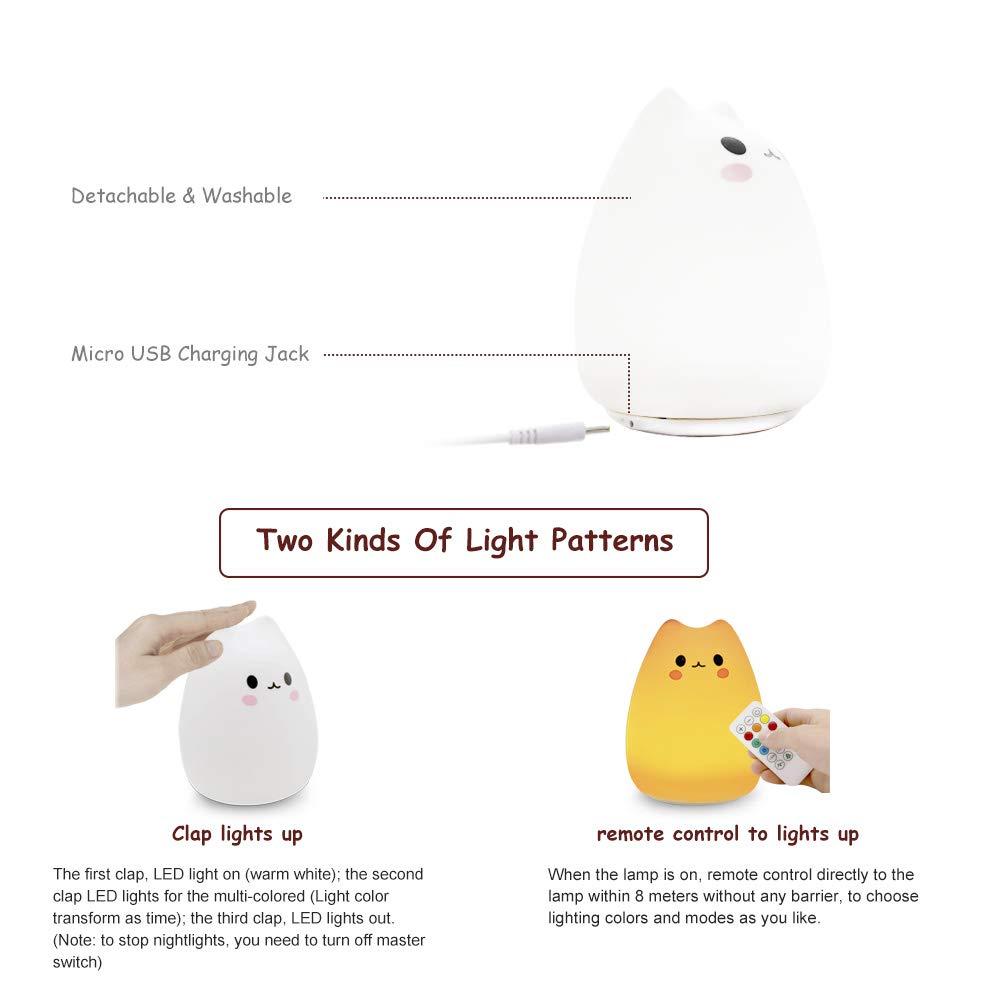 Luce notturna per bambini lampada da comodino LED silicone simpatico gatto bambini lampada telecomando