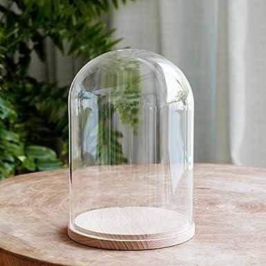 Deko Glasglocke mit Holzboden 20cm Lights4fun