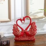European style living room Home Furnishing jewelry Swan gifts room modern crafts gifts zj01311129 ( Color : Red )