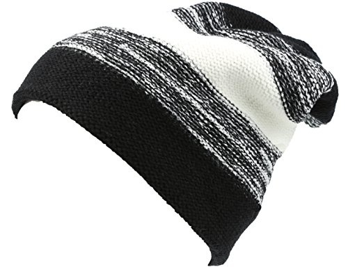 Long Tall Classic Striped Heather Faux Fur Lined Unisex Beanie Hat - Black/White - OS ()