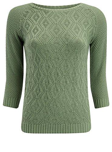 oodji Ultra Mujer Jersey con Decoración Geométrica Verde (6012M)