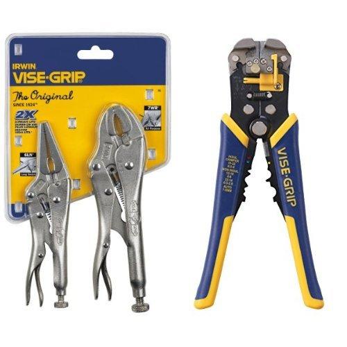 IRWIN VISE-GRIP Original Locking Pliers with Wire Cutter Set and Self-Adjusting Wire Stripper (Stripper Adjusting Self Wire)