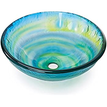 glass bowl sink explodes single vanity with vessel combo tempered bathroom round glazed color yellow blue green