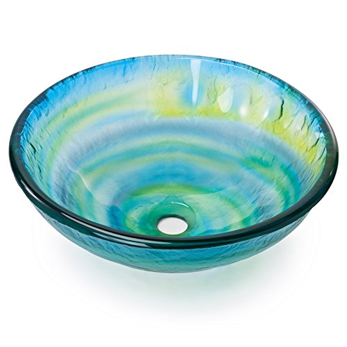 Bowl Vessel Sink Vanity - Tempered Glass Vessel Bathroom Vanity Sink Round Bowl, Glazed Multi Color Yellow Blue Green