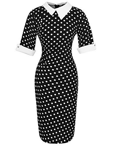 Naive Shine Women's 1/2 Sleeve Peter Pan Collar Retro Bodycon Pencil Formal Office Dress White Polka Dot Black Size XXL