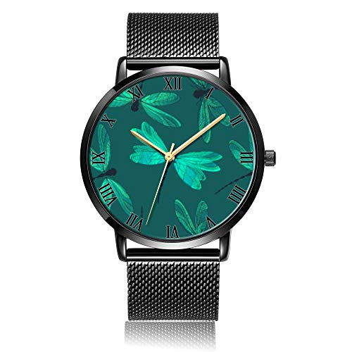 - Customized Green Dragonfly Wrist Watch, Black Steel Watch Band Black Dial Plate Fashionable Wrist Watch for Women or Men