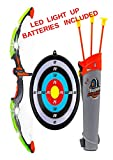 Ninja Toy - Bow Archery Set Kids with Arrow Holder with Target - Indoor Outdoor - Garden Fun Game - Led Light Up - Batteries Included - Perfect Gift for Kids Children Boys and Girls