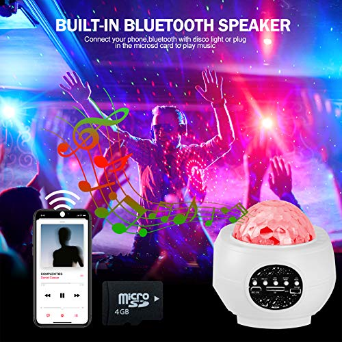 Star Projector Light, LED Galaxy Projector Ocean Wave Night Light,Aifeiter Lights,with Bluetooth Speaker Remote Control,for Party Bedroom Decoration,for Kids Adults Christmas Halloween Gift