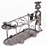 XiYunHan Waiter Dining Cart Trolley Model Metal 2 Bottle Wine Rack Collections Display Holder Crafts Ornaments for Hotel Cafe Dining Living Room Kitchen Creative Restaurant Exquisite