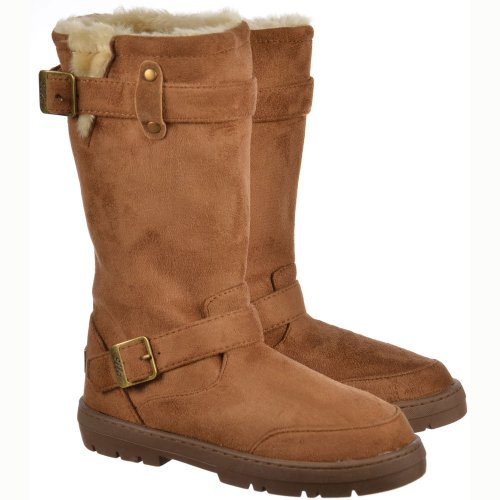 Chestnut Lined Boot Fur Biker Winter Flat Snow qvUvgYW