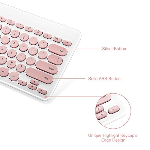 Wireless Keyboard and Mouse Combo, FD iK6620 2.4GHz New Cordless Cute Round Key Set 78-Key Compact Keyboard Smart Power-saving Quiet Slim Combo for Laptop, Computer and Mac (Salmon Pink & White) by FD (Image #2)'