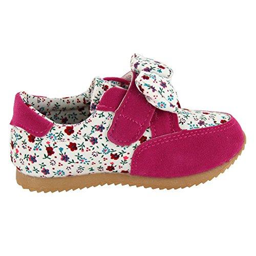 maxu Fashion fleur baskets bébé fille - rouge - rose, 39.5
