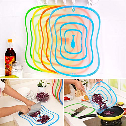 GerTong 1PCS BPA Free Dishwasher Safe Cutting Board PP Plastic Rubber Non-Skid Handles Thick Non-Slip Fruit Rubbing Panel Kitchen Tools - Random Color Size L