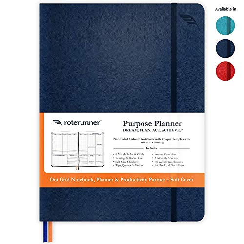 Purpose Planner Undated Monthly Weekly Daily Productivity Journal 2020 Optimized Life, Goal Setting & Business Tool for Professionals, Moms, Academic Student - Leather Day Organizer Notebook
