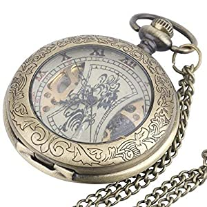 81stgeneration Men's Women's Analogue Mechanical Vintage Style Pocket Watch Brass Pendant Necklace, 78 cm