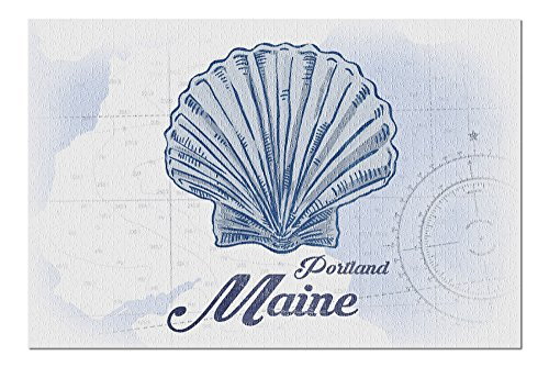 Portland, Maine - Scallop Shell - Blue - Coastal Icon (20x30 Premium 1000 Piece Jigsaw Puzzle, Made in USA!)