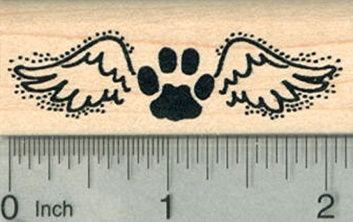 Paw Print Angel Rubber Stamp, Pet Loss Silhouette Series