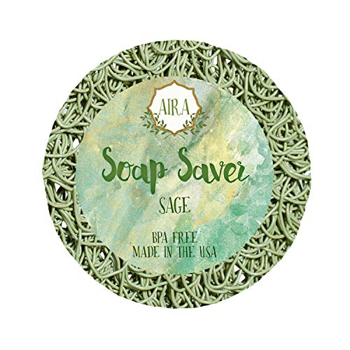 Aira Soap Saver - Soap Dish & Soap Holder Accessory - BPA Free Shower & Bath Soap Holder - Drains Water, Circulates Air, Extends Soap Life - Fits All Soap Dish Sets - Round Sage ()