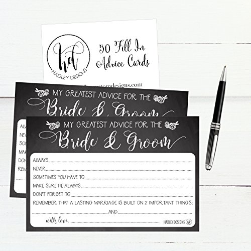 50 4x6 Rustic Chalk Wedding Advice & Well Wishes For The Bride and Groom Cards, Reception Wishing Guest Book Alternative, Bridal Shower Games Note Card Marriage Best Advice Bride To Be or For Mr & Mrs Photo #3