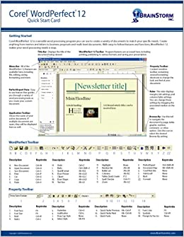 Corel wordperfect 12 quick reference card handy durable tri fold corel wordperfect 12 quick reference card handy durable tri fold corel word perfect 12 tip tricks guide 6 total pages stores easily freerunsca Image collections