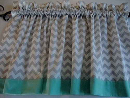 Gray and White Chevron with Mint Border Valance Window Treatment Curtain Choose Border Color