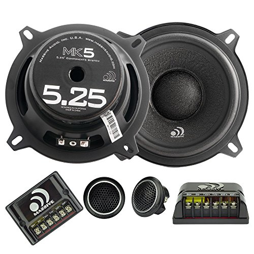 Massive Audio MK5 - 5 Inch/ 5.25 Inch 260 Watts Max / 130w RMS, 4 Ohm, MK Series, 25mm Silk Tweeter Car Audio Component Speaker System (Sold as Pair)