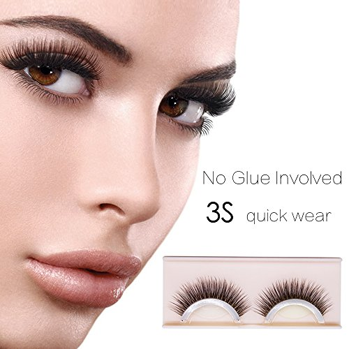 Self-Adhesive Eyelashes Pack - 3D False Eyelashes Non-Irritating Lashes Strips – Easy to Wear, No Glue Involved & Reusable – Natural Fashion Eye Lash Extensions for Fashion &Makeup by Thermidor