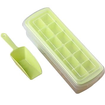 rely2016 plástico Cubito de hielo bandeja con tapa, cuchara y bandeja de congelación de almacenamiento
