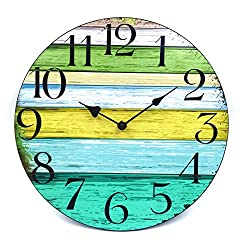 Hippih 12 Vintage Rustic Country Tuscan Style Wooden Decorative Round Wall Clock D