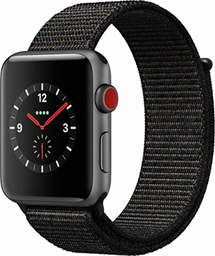 Apple Watch Series 3 38mm Smartwatch (GPS + Cellular, Space Gray Aluminum Case, Black Sport Loop Band) MRQE2LL/A