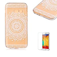 For Samsung Galaxy A5 (2017 Model) Case [with Free Screen Protector].Funyye Gradual Change Color Transparent Silicone Soft Thin Light Lightweight Rubber TPU Gel Original Anti-Slip Stylish Protective Case Cover Slim Thin Skin Shell for Samsung Galaxy A5 (2017 Model)-Mandala Flower Black-Mandala Flowe