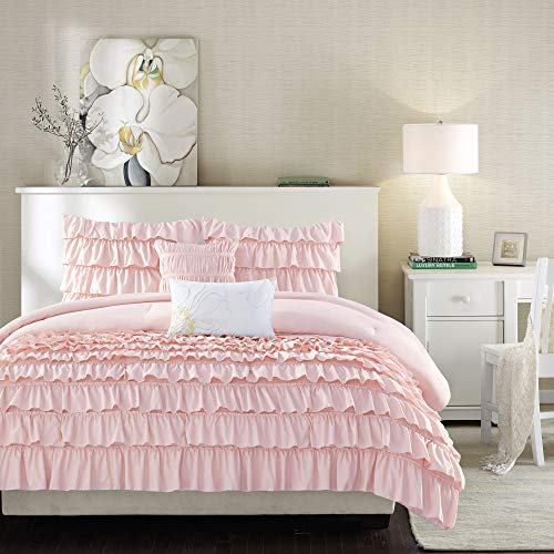 Intelligent Design Waterfall Comforter Reversible Solid Lush Ruffled Stripe Shabby Chic Ultra Soft Microfiber Down Alternative Pleated Decor Pillow Bedding Set, Full/Queen, Blush, 5 Piece