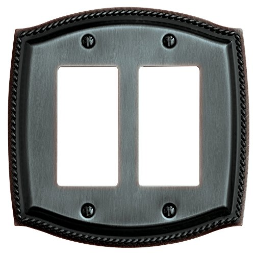 Baldwin Estate 4797.112.CD Rope Double GFCI Wall Plate in Venetian Bronze, 5.9