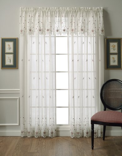 Today's Curtain Sunshine Semi Sheer Reverse 63-Inch Embroidery Panel, Ecru/Burgundy