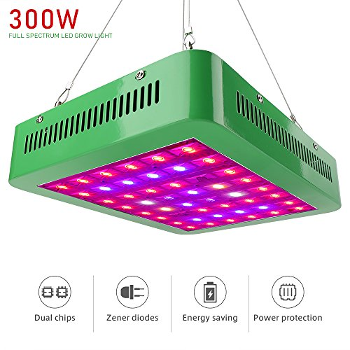 Derlights 300W Double Chips LED Grow Lights with Dual Growth and Bloom Switches, Full Spectrum Grow Lamp for Indoor Plant Greenhouse Hydroponic Veg and Flowers by Derlights