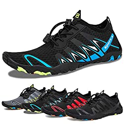 Water Shoes Mens Womens Beach Swim Shoes Quick Dry Aqua Socks Pool Shoes For Surf Yoga Water Aerobics F Black Blue 38